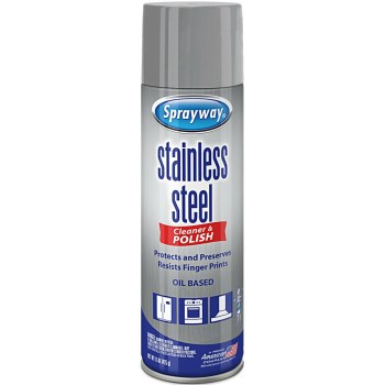 Sprayway Stainless Steel Cleaner, Oil-Based ~ 15 oz Aerosol