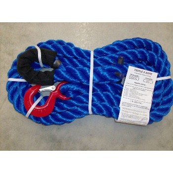 "Triple S Rope  TS-25LH20 Polypropylen Loop x Hook Tow Rope, 25,000 Lb ~ 1 1/4"" x 20 Ft."
