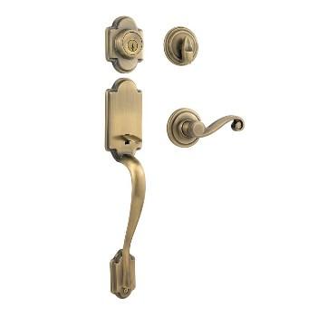 Kwikset 98001-095 Handleset,  Arlingon/Lido Series Lever w/SmartKey ~ Antique Brass