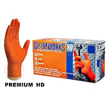 Ammex  Nitrile Gloves, Heavy Duty ~ Hi-Vis Orange L