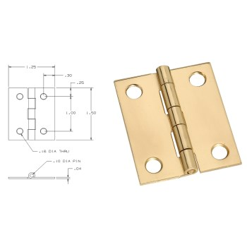 Solid Brass/Pb Board Hinge, Visual Pack 1802 1 - 1/2 x 1 - 1/4  inches
