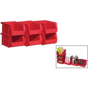 Akro Mils  Storage Bins - Red - 6 pack
