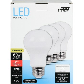 Daylight LED Bulbs, 800 Lumens ~ A19