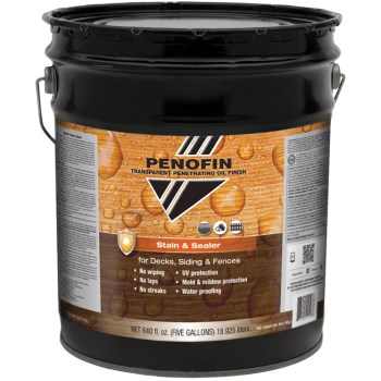 Transparent Oil  Stain & Sealer for Decks/Siding/Fences, Mission Brown Finish ~  5 Gallon Container