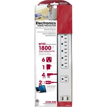 6 Outlet Surge Protector w/USB Charger + 4' Cord