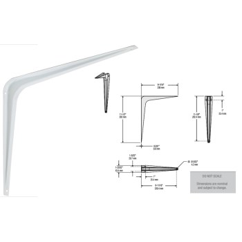 "Strong Arm Shelf Utility Bracket, White ~ 10"" x 12"""
