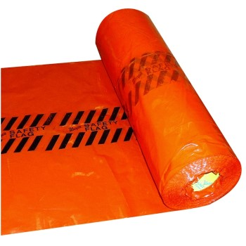 "Plastic Safety Flags in Roll of 500 Units,  Red ~ 18"" x 18"""