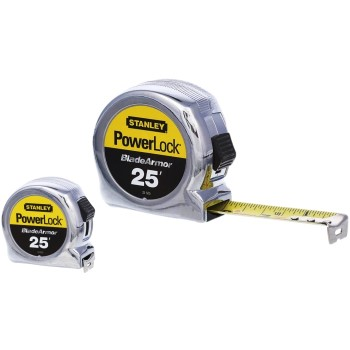 "Stanley 33-525 PowerLock Tape Rule w/Blade Armor ~ 1"" x 25 Ft."