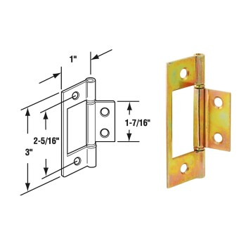 "Bi-Fold Door  Non-Mortise Hinge,  Brass Plated ~  1"" x 3"""