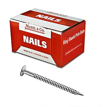 Ring Shank Pole Barn Nail, 6 Inch - 50 Pound Box