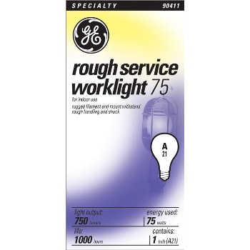 GE 18274 Rough Service Bulb, 75 watt