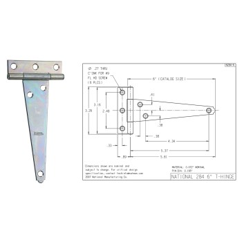 Light Duty T  Hinge, Zinc Plated ~ 6""