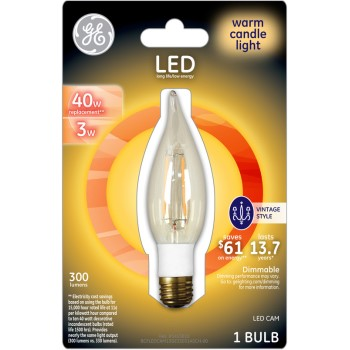 General Electric  33031 LED Vintage Style CAM Candelabra Bulb - 3/40 watt