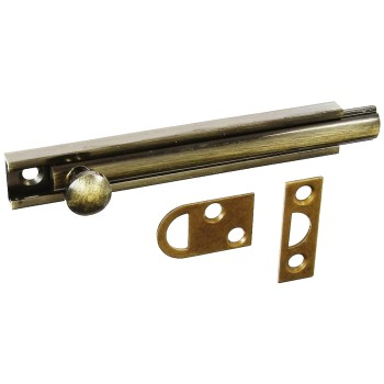 National  Solid Brass/Antique Brass Surface Bolt, 4 inches.