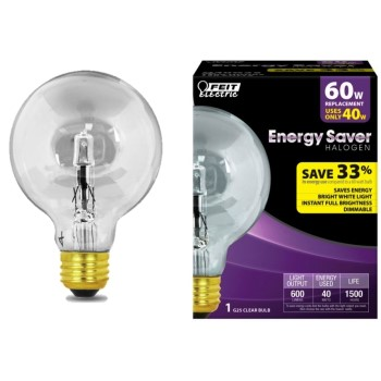 Energy Saving Hologen Globe Bulb, Clear ~ 40w