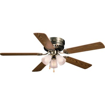 Bermuda Design Series Ceiling Fan,  Antique Brass Finish ~ 5 Blade