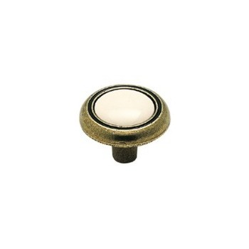 Knob - Antique Brass Finish with White Inset - 1.25 inch