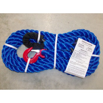 "Polypropylene Loop x Hook Tow Rope, 12,500Lb ~ 7/8"" x 20 Ft"