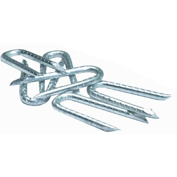Barbed Fence Staples, Bright, 5 Lb Pail ~ 1 - 1/4""