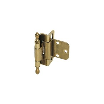 Inset Partial Wrap Hinge - Self Closing - Brass Traditional Finish - 3/8 inch