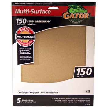 Ali Industries 4442 Multi Surface Sandpaper,  150 Grit ~ 9 x 11 inch