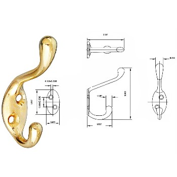 National 248229 Coat & Hat Hook, Brass ~ Heavy Duty