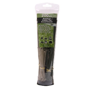 Outdoor Cable Tie Assortment, 200 Piece