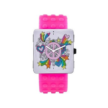 Stamp Watch, Peace, Hot Pink Rubber Strap