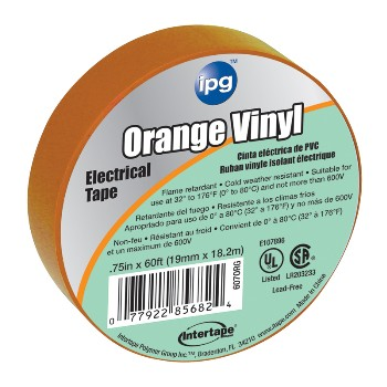 Electrical Tape, Orange 3/4 inch x 60 ft