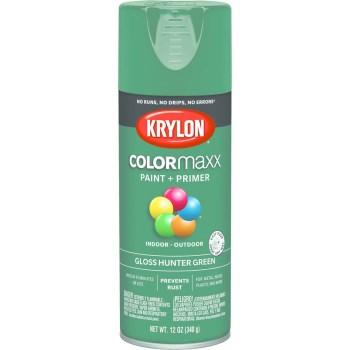 Krylon K05523007 Krylon ColorMaxx Spray Paint + Primer, Gloss Hunter Green ~ 12 oz Cans