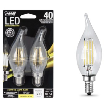 LED Flame Tip Chandelier Bulb ~ 300 Lumens @ 4.5 Watts