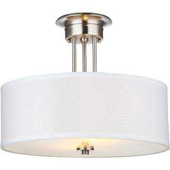 Ceiling Fixture, 2 Light Semi Flush ~ Satin Nickel