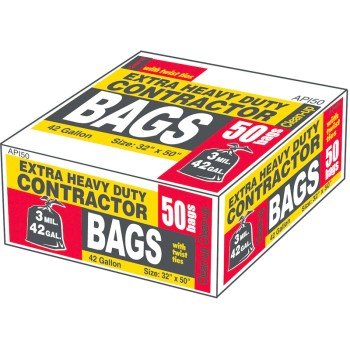 Contractor Trash Bags, Heavy Duty ~ 42 Gallon