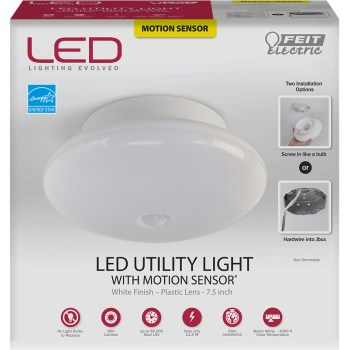 Motion Sensing LED Utility Light Fixture, White ~ 7.5""