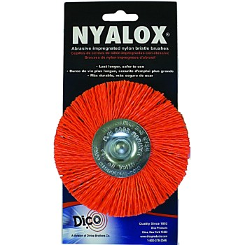 "Dico Prod  7200021 Nyalox Mandrel Wheel Brush, Orange ~ 3"" - 120 Grit"