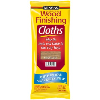 Natural Oak Stain Finishing Cloths ~ 8 Cloths per Pack
