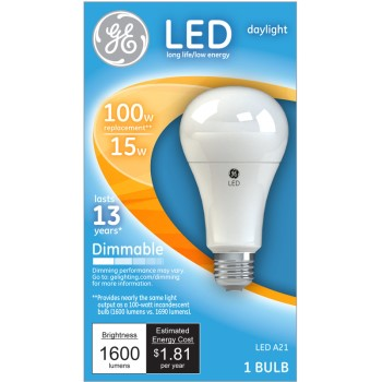 Dimmable LED Light Bulb - 15 watt/100 watt ~ Daylight