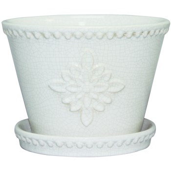 8in. Wh Crm Planter
