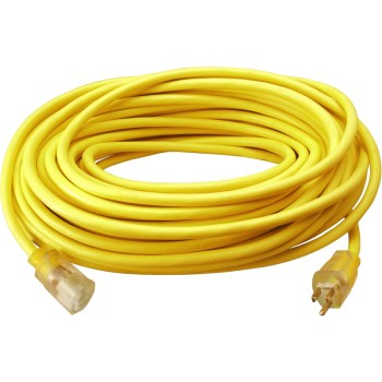 Coleman Cable 02588 Lighted End Extension Cord, Yellow ~ 50 feet