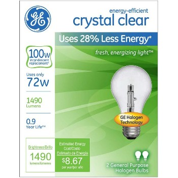 Crystal Clear Bulb, 72 Watt A19