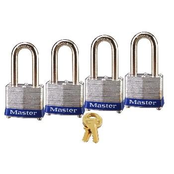 MasterLock 3QLF Long Shackle Padlocks, KA ~ 4 Pack