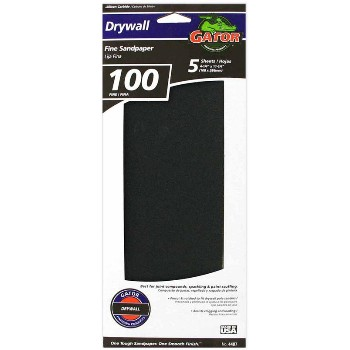 Drywall Sandpaper Sheets, 100 Grit ~ 4 1/4 x 11 1/4 inch