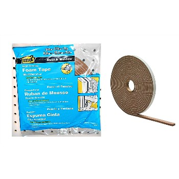 "Brown Foam Tape, High Density ~ .25"" x .50"" x 17 Ft"