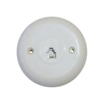 Telephone Wall Jack, Round ~ White