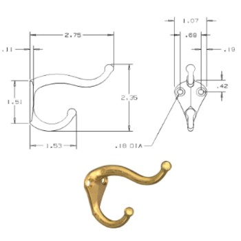 National 154575 Coat & Hat Hooks, Brass