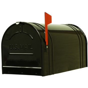 Fulton 2C-BLK Jumbo Steel Post Mount Mailbox, Black
