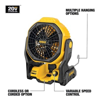 "Battery or A/C  Powered  11"" Jobsite Fan ~ 20 Volt"