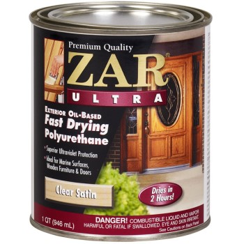 Buy the ugl 34112 zar ultra exterior polyurethane clear satin quart hardware world for Exterior polyurethane for decks