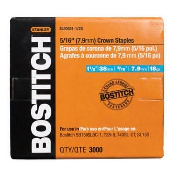 "Bostitch SL50351-1/2G Crown Galvanized Staples - 5/16"" x 1.5"" L"