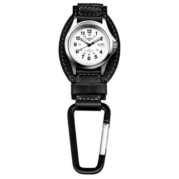 Leather Hanger, White Dial, Black Leather, Black Carabineer